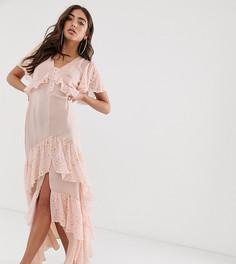 Платье макси с оборками и разрезом спереди House of Stars - Розовый