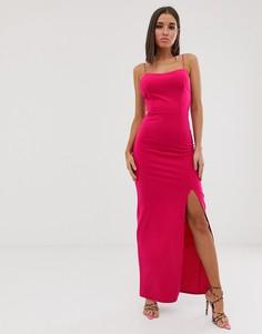Платье макси с квадратным вырезом цвета фуксия Club L London - Розовый