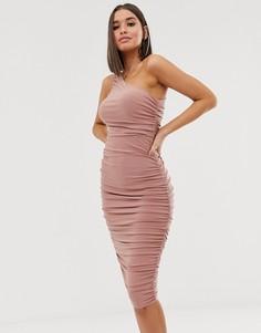 Платье миди на одно плечо со сборками Club L London - Коричневый