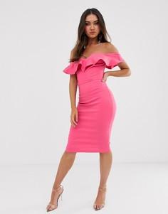 Облегающее платье цвета фуксии с вырезом сердечком и оборками Vesper - Розовый