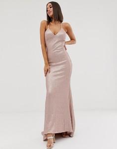 Розовое платье макси на бретельках с юбкой-годе и пайетками Club L London - Розовый