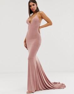Розовое платье макси с юбкой-годе и бретельками на спине Club L London - Розовый