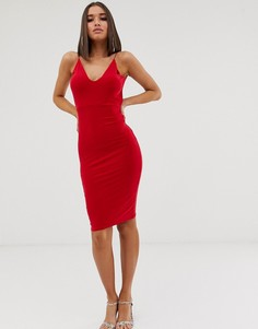 Красное платье миди со сборкой и открытой спиной Club L London - Красный