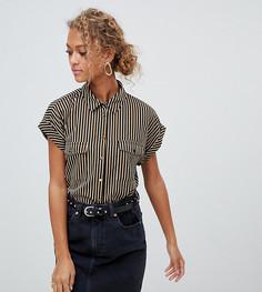 Рубашка в стиле милитари в черно-белую полоску New Look - Черный