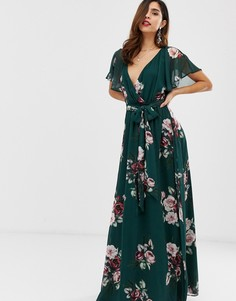 Платье макси с расклешенными рукавами и цветочным принтом City Goddess - Зеленый
