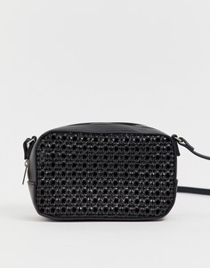 710e4e79a5cd Черная квадратная сумка через плечо с плетеной отделкой Pimkie - Черный
