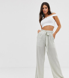 Glamorous Tall wide leg trousers in textured stripe - Серый
