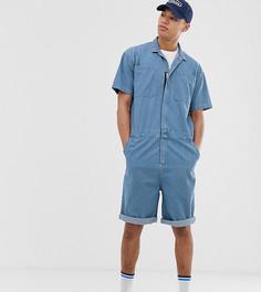 Синий выбеленный джинсовый комбинезон ASOS DESIGN Tall - Синий