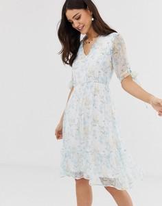Полупрозрачное платье мини с цветочным принтом акварельной расцветки Y.A.S - Мульти