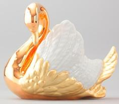 Сахарницы, Конфетницы Rudolf Kampf, Лебедь конфетница (золото+бел.крылья), В ПОДАРОЧНОЙ КОРОБКЕ