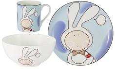 Детская посуда Anna Lafarg Emily Набор из 3-х предметов Зайчонок: кружка, тарелка, миска