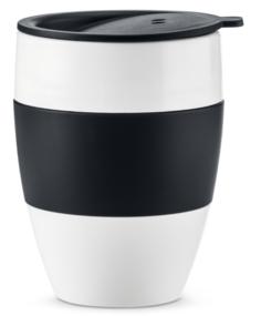 Кружки Koziol AROMA TO GO 2.0 Термокружка 400 мл, чёрно-белая