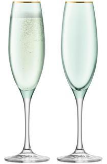Бокалы для игристых вин LSA Набор из 2 бокалов флейт для шампанского Sorbet 225 мл зелёный