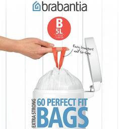 Аксессуары для мусорных вёдер и баков Brabantia Мешки для мусора PerfectFit, размер В (5 л), упаковка-диспенсер, 60 шт.
