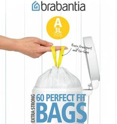 Аксессуары для мусорных вёдер и баков Brabantia Мешки для мусора PerfectFit, размер А (3 л), упаковка-диспенсер, 60 шт.