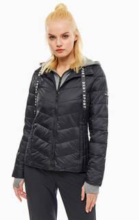 Куртка Черная куртка с трикотажным капюшоном Dkny