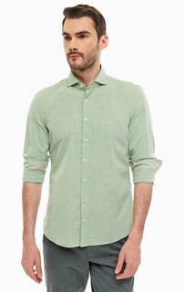 Рубашка из хлопка мятного цвета Marc Opolo