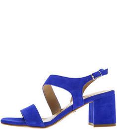 Босоножки Синие замшевые босоножки на устойчивом каблуке Tamaris