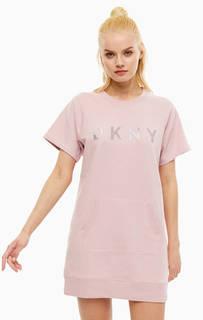 Платье из хлопка с объемным принтом Dkny