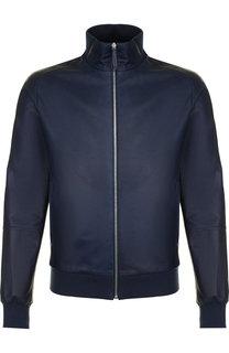 Кожаная куртка-бомбер на молнии Andrea Campagna