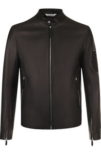 Кожаная куртка с отделкой из кожи крокодила Andrea Campagna