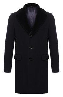 Кашемировое пальто с норковой отделкой воротника Andrea Campagna