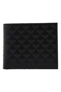 Черное кожаное портмоне Emporio Armani