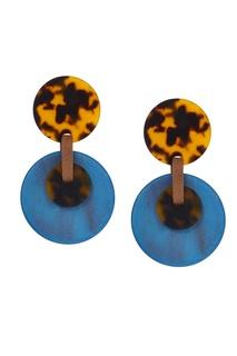 Сине-коричневые серьги из пластика и искусственной кожи Aloud