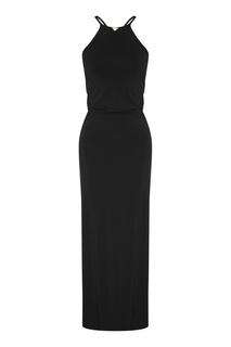 Черное пляжное платье Emporio Armani