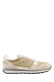 Золотисто-бежевые кроссовки с логотипами Emporio Armani