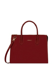 Бордовая кожаная сумка Pin Furla