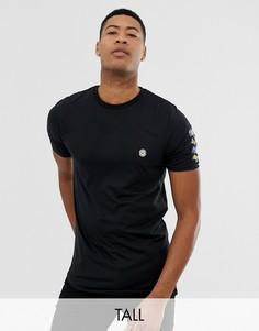 Длинная футболка с принтом на спине Le Breve Tall - Черный