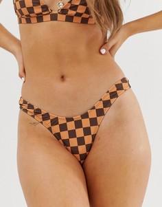 Светло-коричневые плавки бикини в шахматную клетку Motel - Мульти