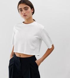 Укороченная белая футболка с круглым вырезом Monki - Белый