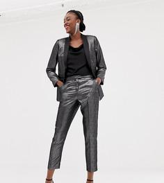 Серебристые атласные брюки под смокинг New Look - Серебряный