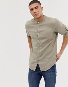 Бежевая льняная приталенная рубашка с воротником-стойкой и длинными рукавами Celio - Бежевый