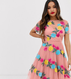 Розовое платье миди для выпускного с цветочной аппликацией Dolly & Delicious Petite - Розовый
