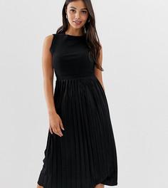 Фактурное платье миди с плиссированной юбкой ASOS DESIGN Petite - Черный