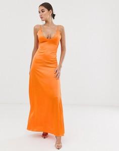 Платье макси на бретельках с открытой спиной Club L - Оранжевый