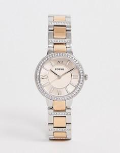 Металлические часы с розово-золотистой отделкой Fossil ES3405 Virginia - Золотой