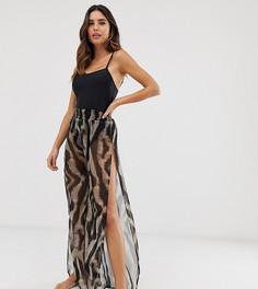 Эксклюзивные пляжные брюки с принтом в стиле сафари Glamorous - Мульти