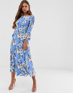 611ef50461b Креповое платье макси с длинными рукавами и цветочным принтом Ghost - Luisa  - Синий