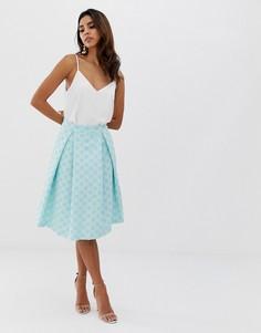 Жаккардовая расклешенная юбка со складками Vesper - Зеленый
