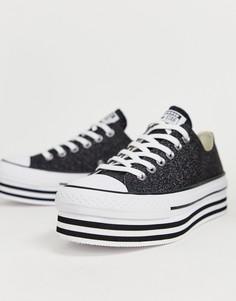 Черные низкие кеды на платформе и с блестками Converse chuck taylor all star - Черный