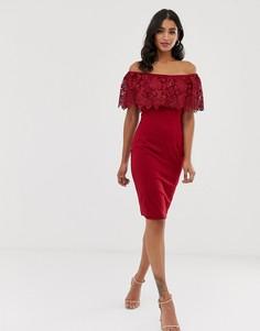 Платье миди колор блок с открытыми плечами Paper Dolls - Красный