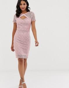 Платье-футляр из кроше с короткими рукавами и фигурным краем Paper Dolls - Розовый