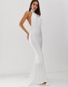 Белое платье макси с годе и открытой спиной Club L London - Белый