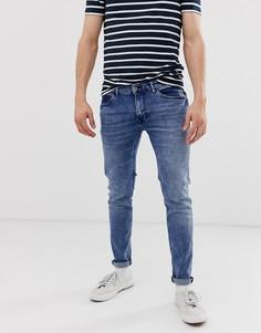 Синие дважды выбеленные джинсы скинни Celio - Синий