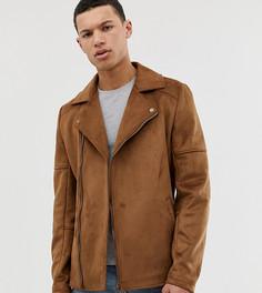 Светло-коричневая байкерская куртка из искусственной замши ASOS DESIGN Tall - Рыжий