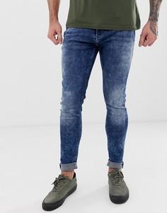 Выбеленные синие супероблегающие джинсы с потертостями Blend - Синий